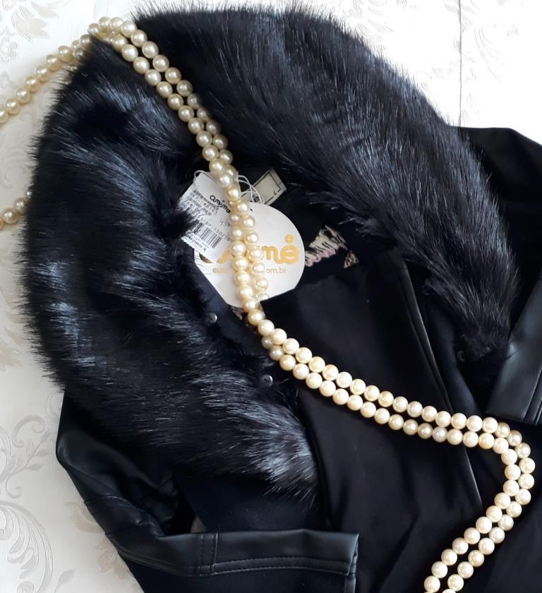 Jaqueta preta couro e pêlo ANIMÊ