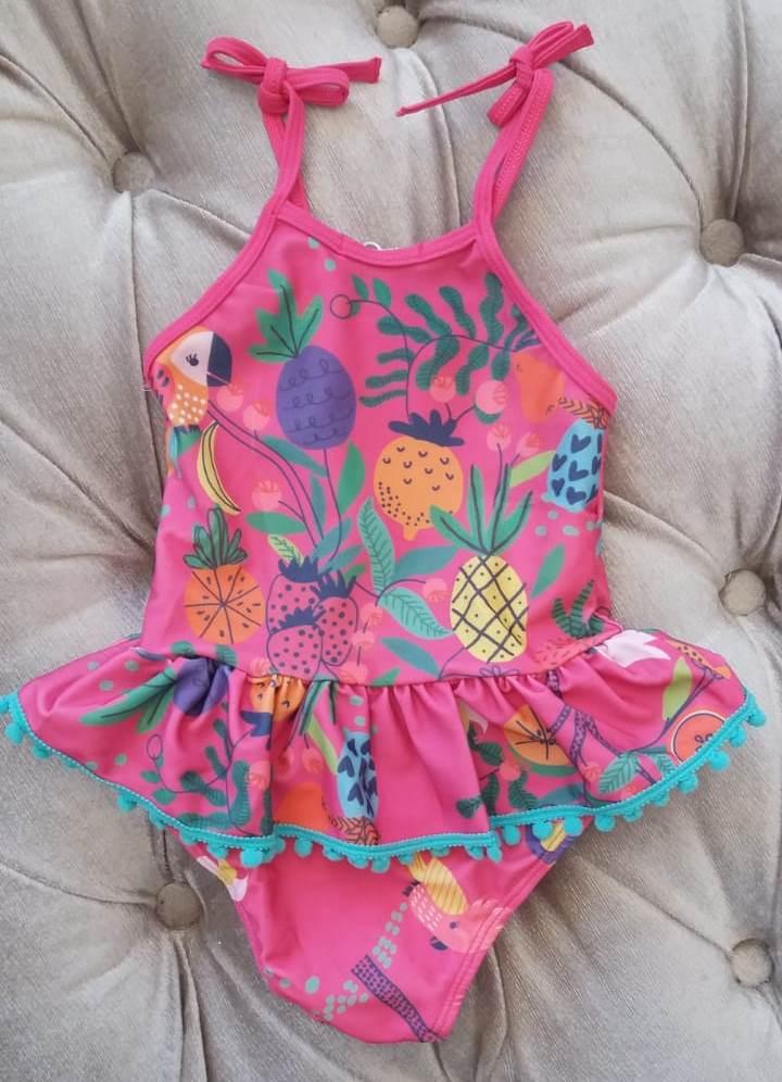 Maiô Mon Sucré Pink com estampa de pássaros e frutas