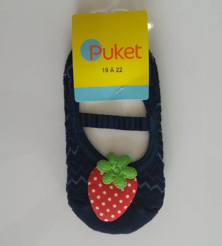 Meia sapatilha Puket azul marinho morango