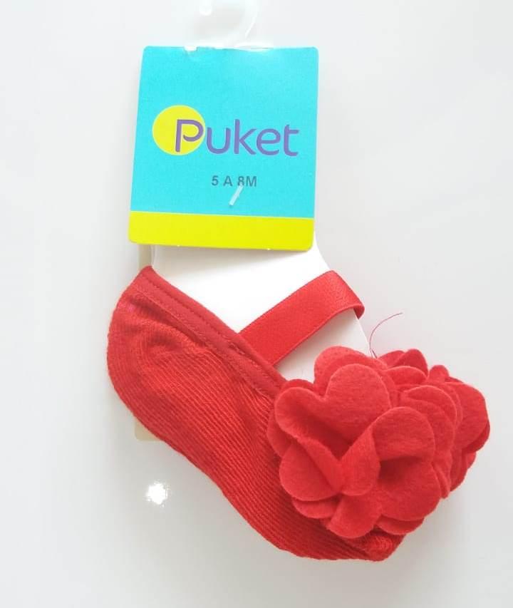 Meia sapatilha Puket vermelha flor