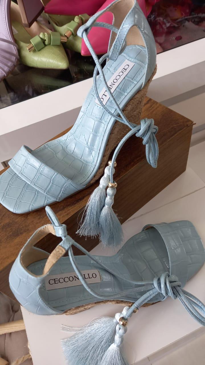 Sandália CECCONELLO anabela azul