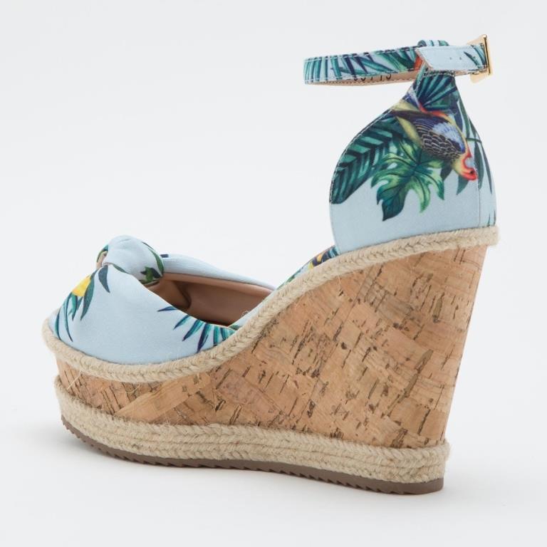 Sandália cs club anabela azul floral