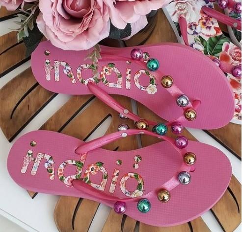 Sandália pink bolas colorida INDAIÁ