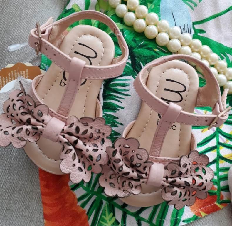 Sandália rosa bebê laço MARIA CARAMELO