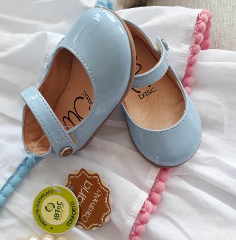 Sapatilha azul bebê verniz MARIA CARAMELO