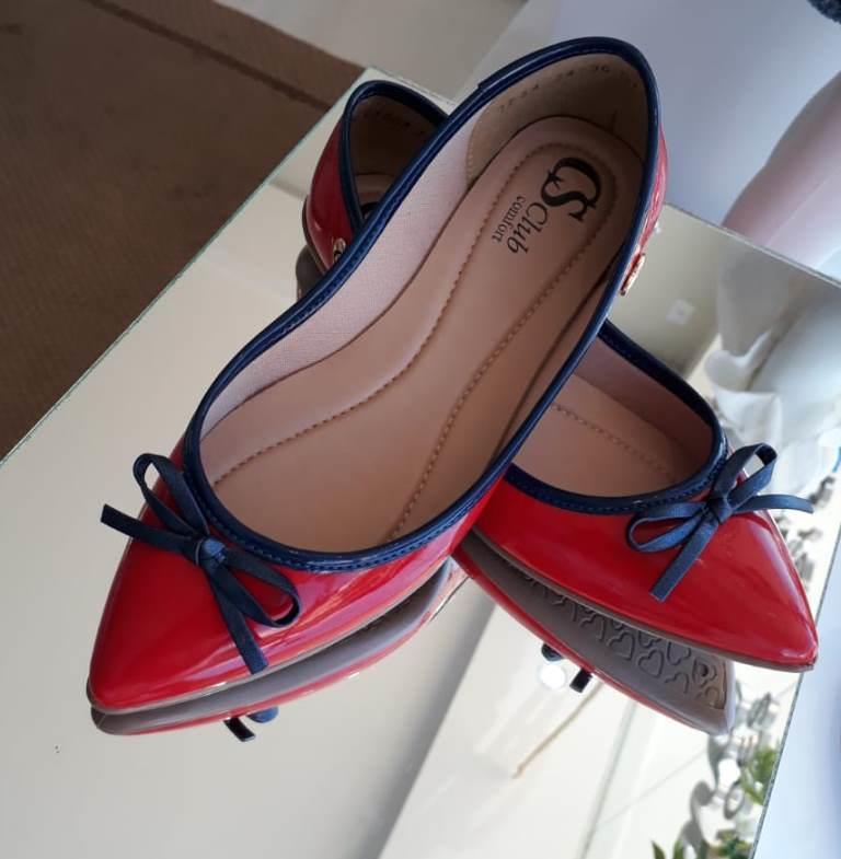 Sapatilha vermelha laço azul CS CLUB