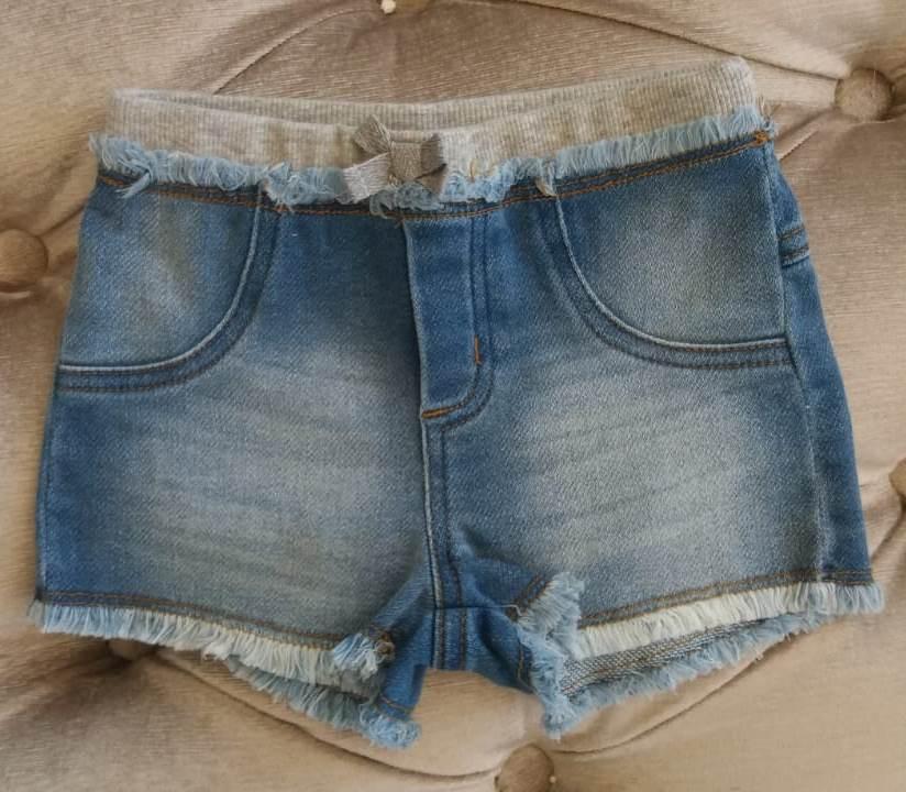 Short Animê bebê jeans cós cinza