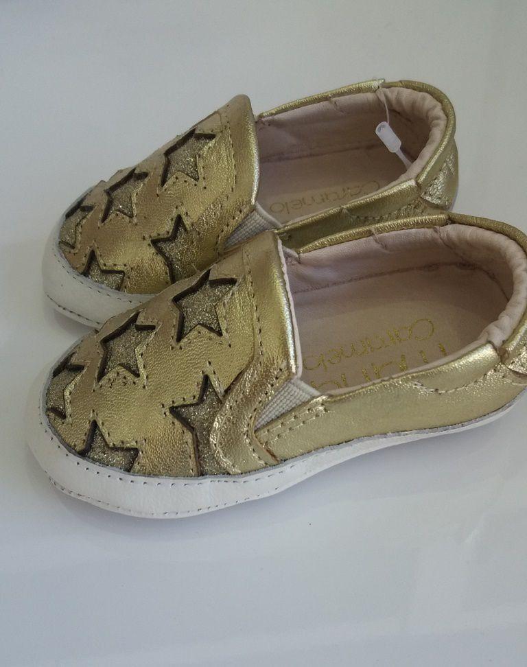 Slip on bebê Maria Caramelo dourado estrela