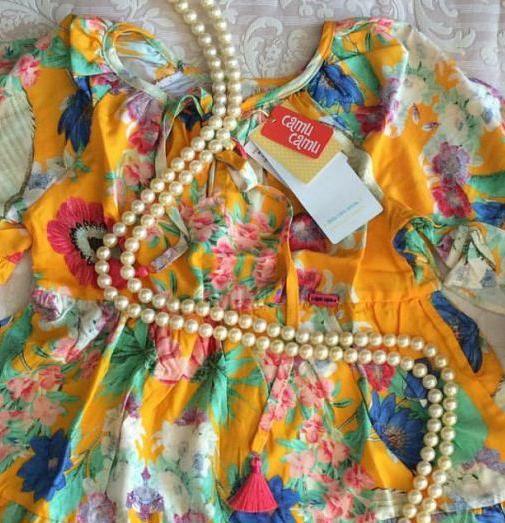 Vestido amarelo floral CAMU CAMU