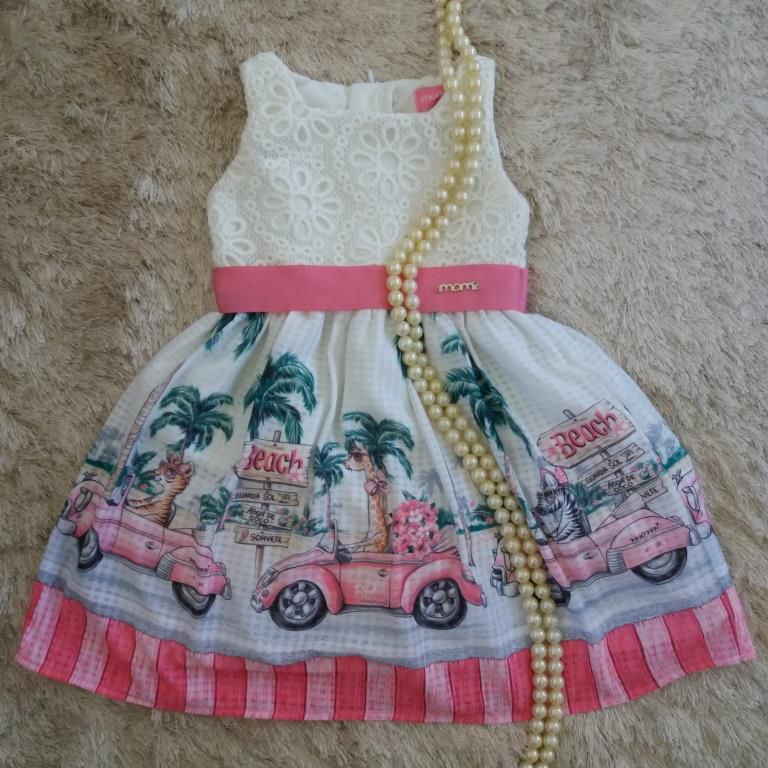 Vestido barrado beach com renda off MOMI