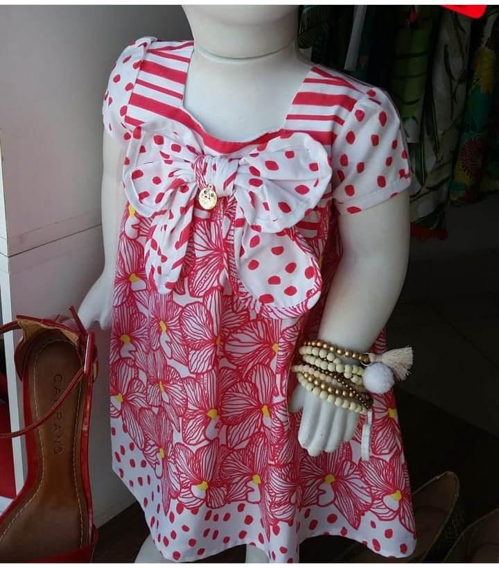Vestido bebê barrado flores vermelho e branco PRECOCE