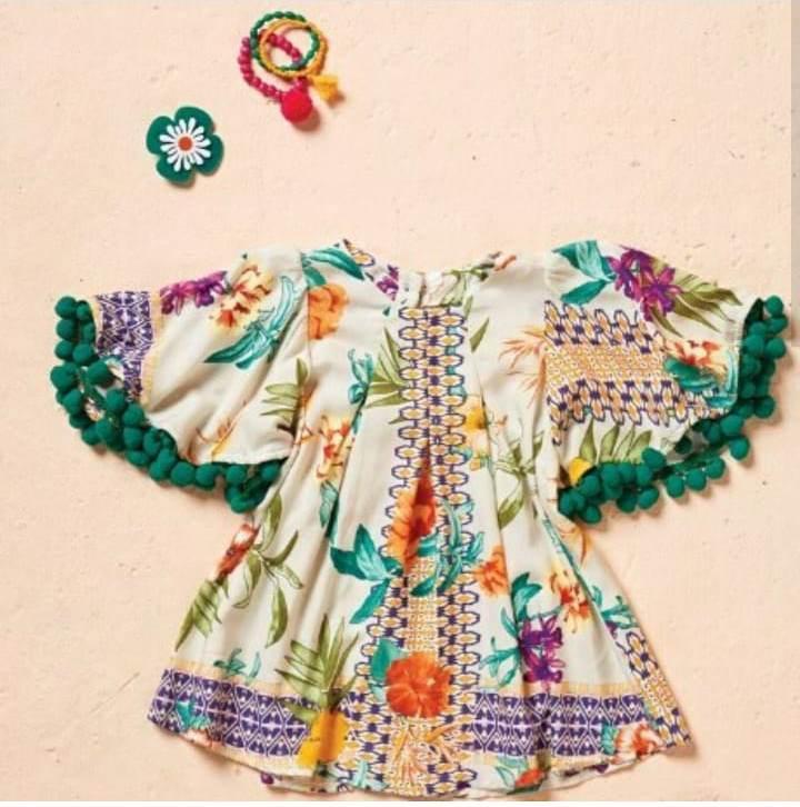 Vestido bebê CAMU CAMU estampa lenço floral