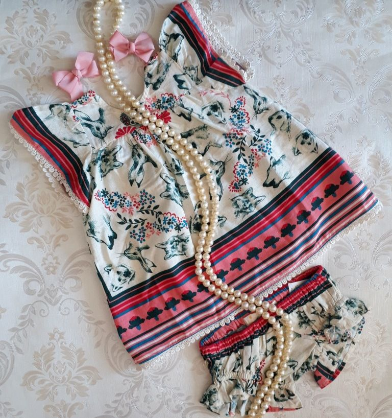 Vestido bebê FÁBULA estampa Lenço silvestre