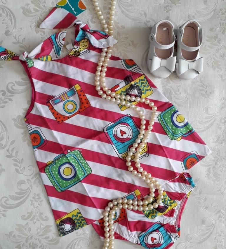 Vestido bebê PRECOCE estampa máquinas