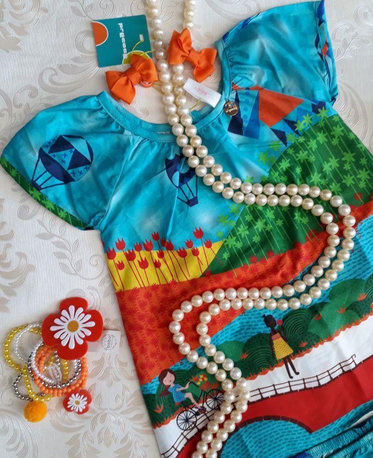 Vestido bebê tricoline turquesa PRECOCE