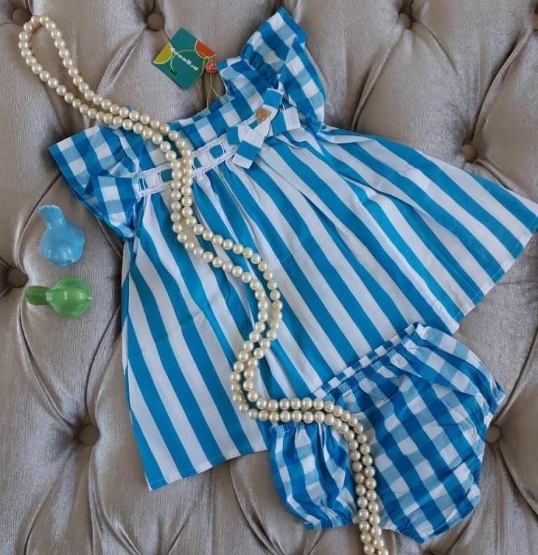 Vestido bebê xadrez azul PRECOCE