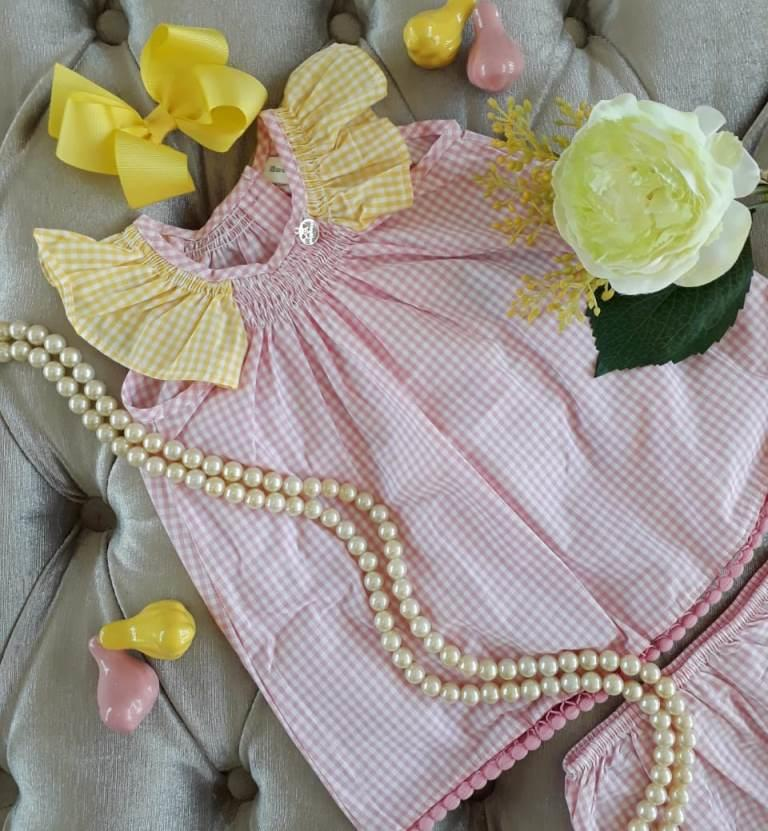 Vestido bebê xadrez rosa com amarelo PRECOCE