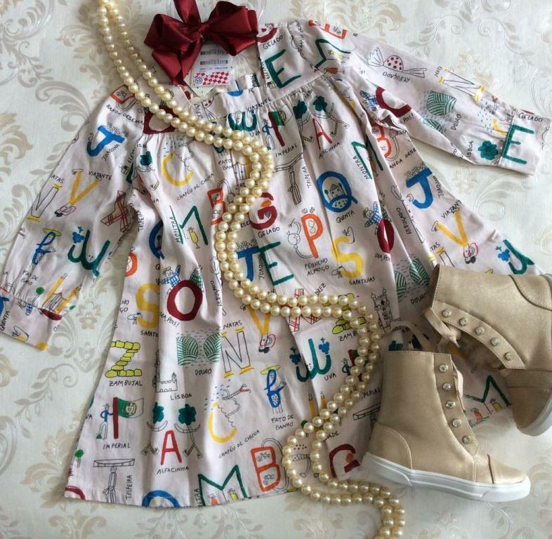 Vestido estampa alfabeto FÁBULA