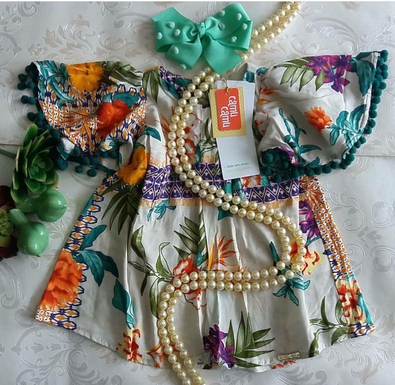 Vestido CAMU CAMU estampa lenço floral com pompom