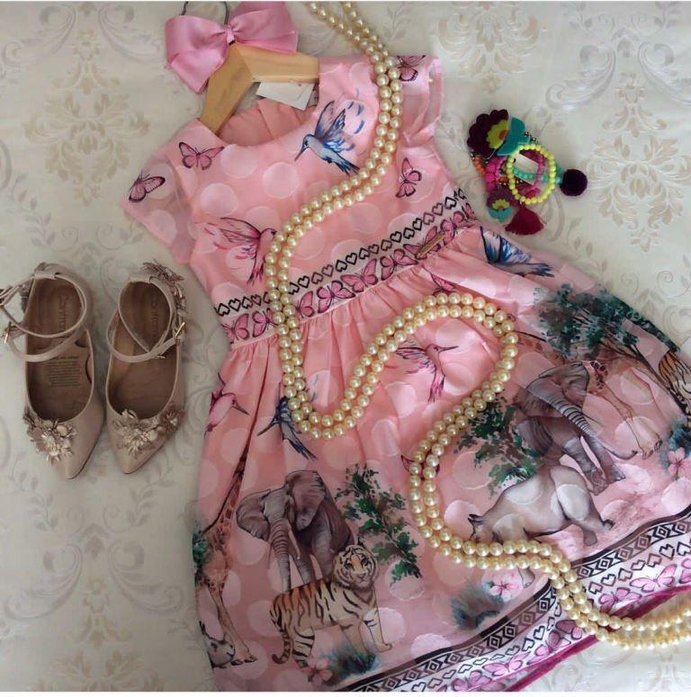 Vestido festa rosa barrado safari MOMI