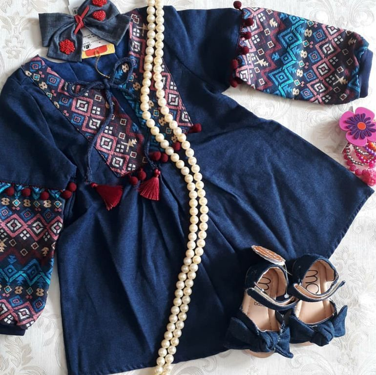 Vestido jeans com jacquard CAMU CAMU