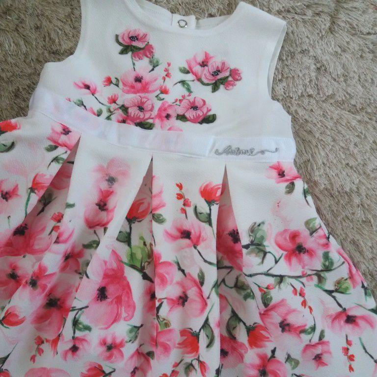 Vestido malha bebê flores rosa ANIMÊ