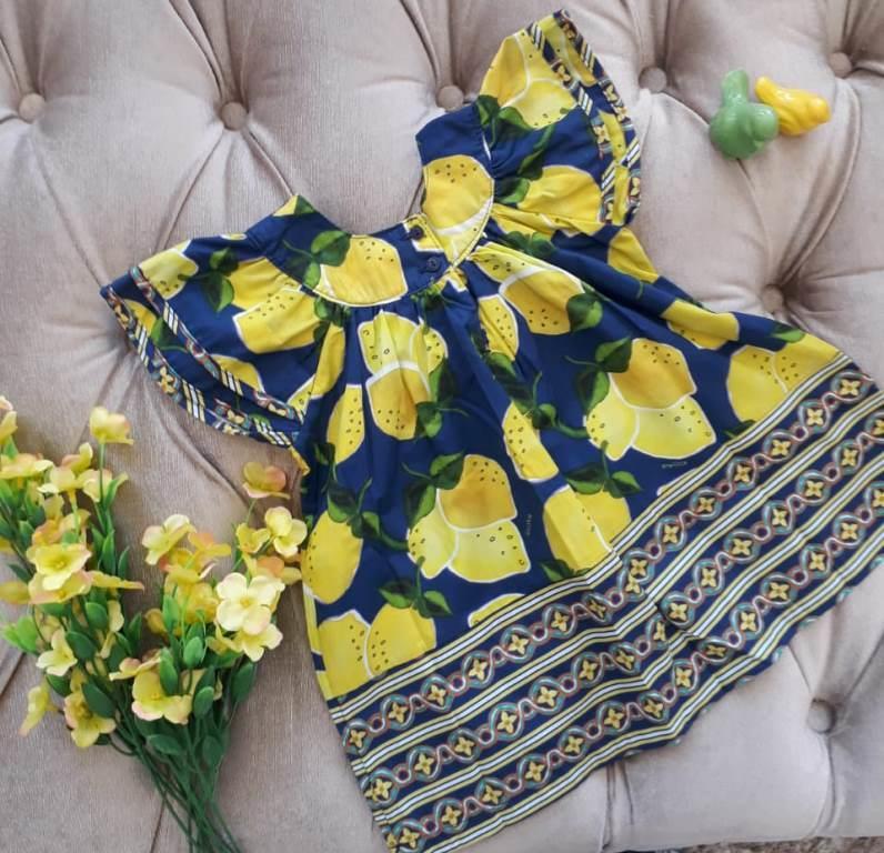 Vestido Precoce azul marinho com limão