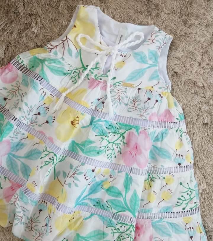 Vestido Precoce Branco floral candy colors