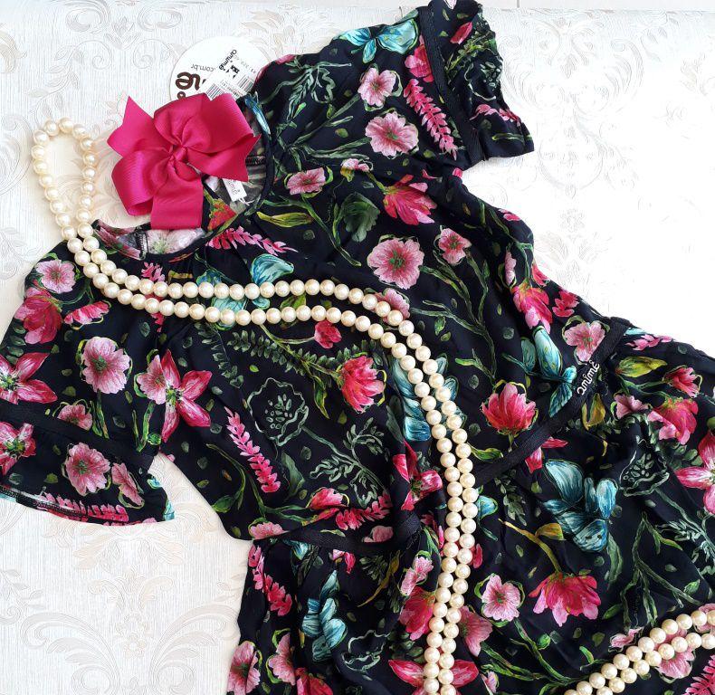 Vestido preto floral ANIMÊ