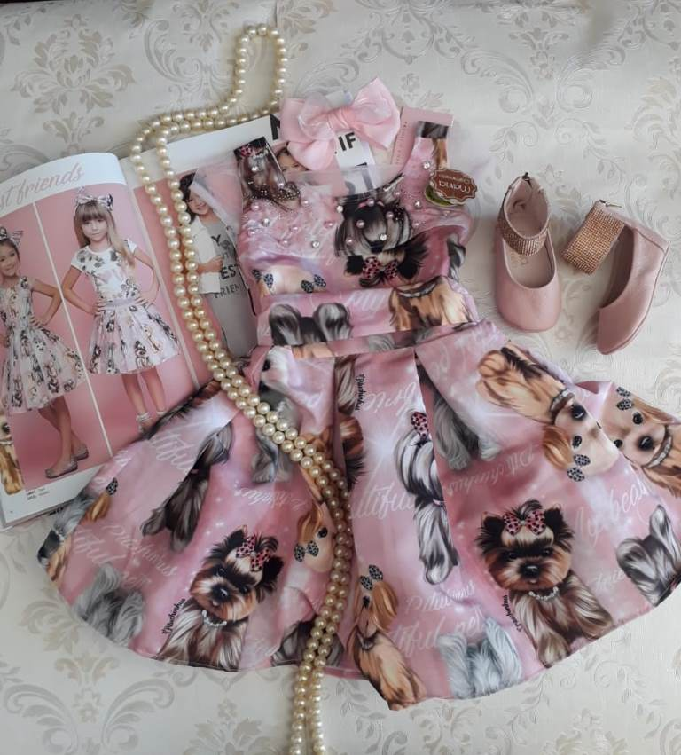 Vestido rosa cachorrinhos PITUCHINHUS
