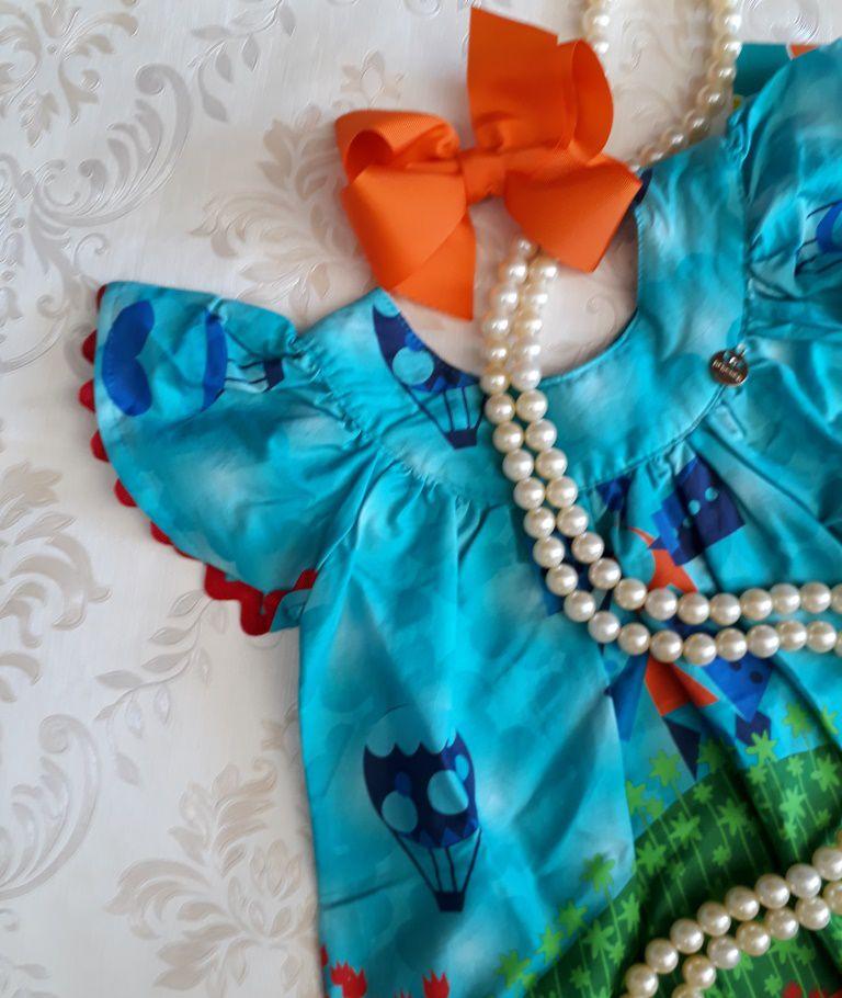 Vestido tricoline turquesa barrado PRECOCE