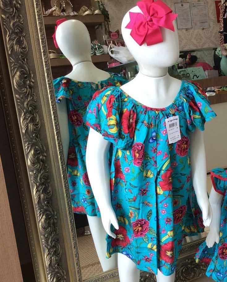 Vestido turquesa flores do jardim PRECOCE