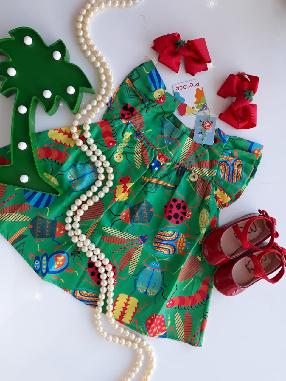 Vestido verde bichinho PRECOCE
