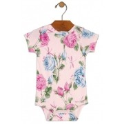 Body Manga Curta Floral Rosa Avulso - Up Baby