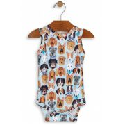 Body Manga Regata Cachorrinho Azul Avulso - Up Baby