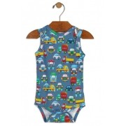 Body Manga Regata Carrinhos Azul Avulso - Up Baby