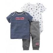 Conjunto Com 3 Peças Body / Calça / Camiseta Esportes - Carter's