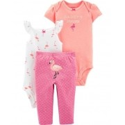 Conjunto Com 3 Peças Body / Calça Flamingo - Carter's