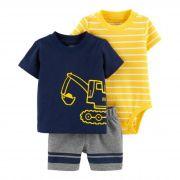Conjunto Com 3 Peças Body / Camiseta / Shorts Pequeno Construtor - Carter's