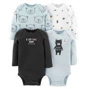 Kit Com 4 Body Manga Longa Urso - Carter's 126h710