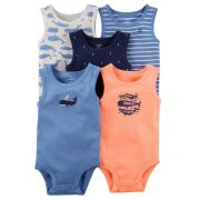 Kit Com 5 Body Manga Regata Baleia - Carter's