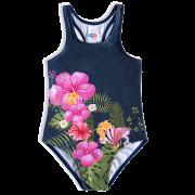 Maiô Floral Azul Marinho Regata Nadador Bebê Menina Infantil  FPS 50+ - Tip Top