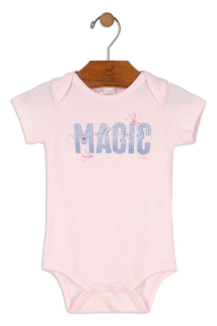 Body Manga Curta Magic Rosa Claro Menina Avulso Up Baby