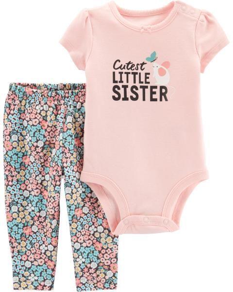 Conjunto Com 2 Peças Calça / Body Little Sister - Carter's