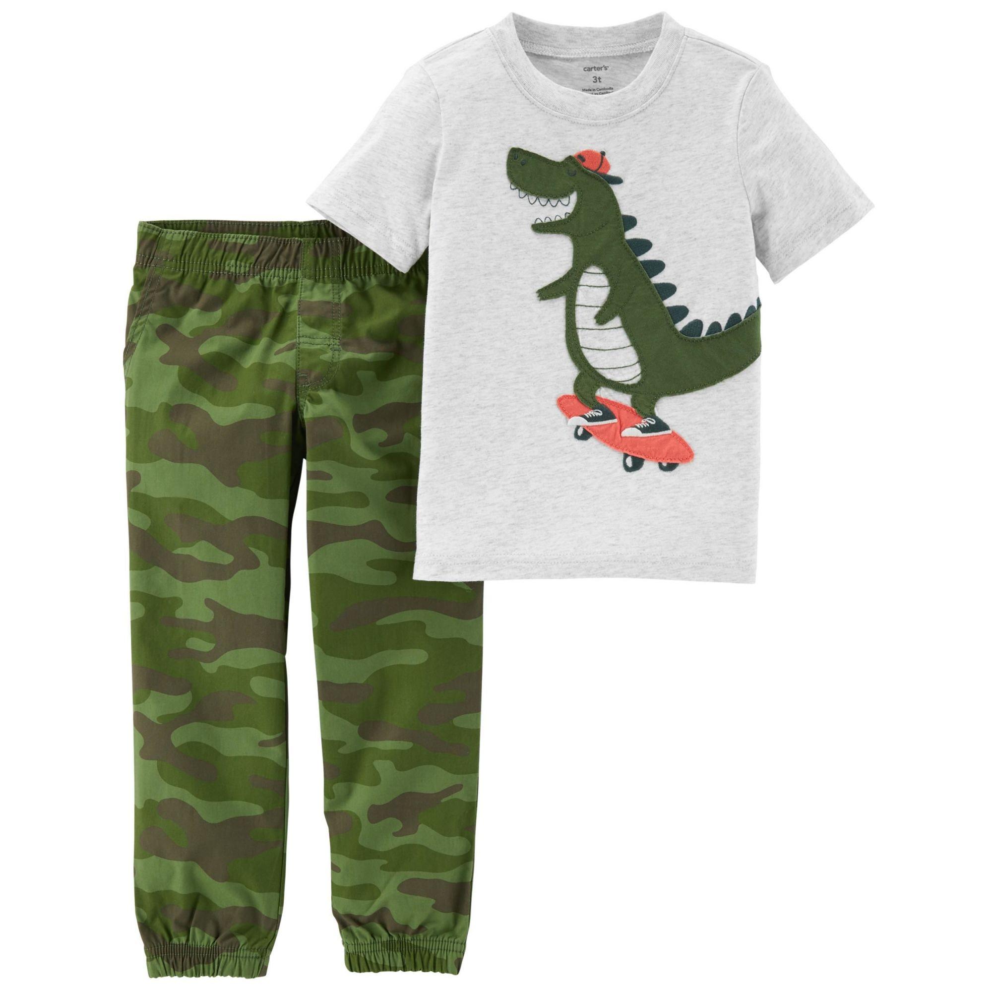 Conjunto Com 2 Peças Camiseta / Calça Militar Dinossauro - Carter's