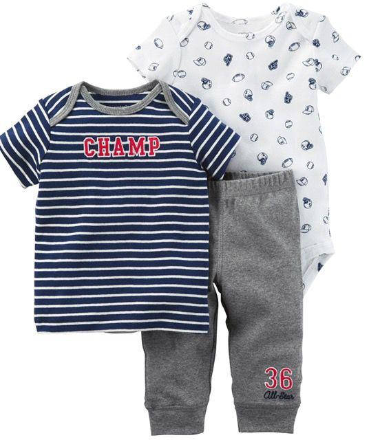 Conjunto Com 3 Peças Body   Calça   Camiseta Esportes - Carter s Lu ... 448f3d8c605