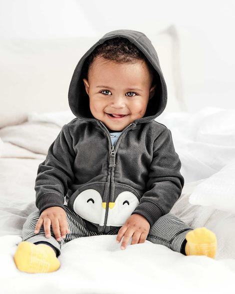 Conjunto Com 3 Peças Body / Calça / Casaco Pinguim - Carter's