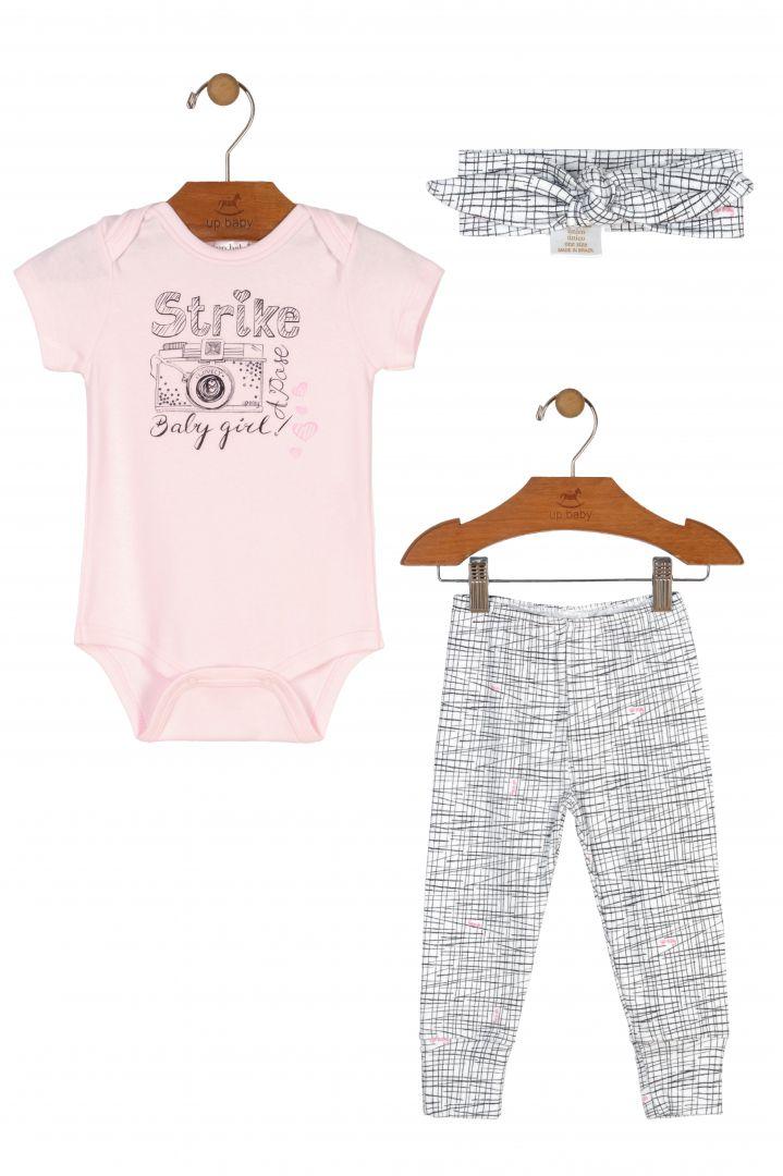 Conjunto Com 3 Peças Body / Calça / Faixa de Cabelo Rosa Claro e Preto - Up Baby