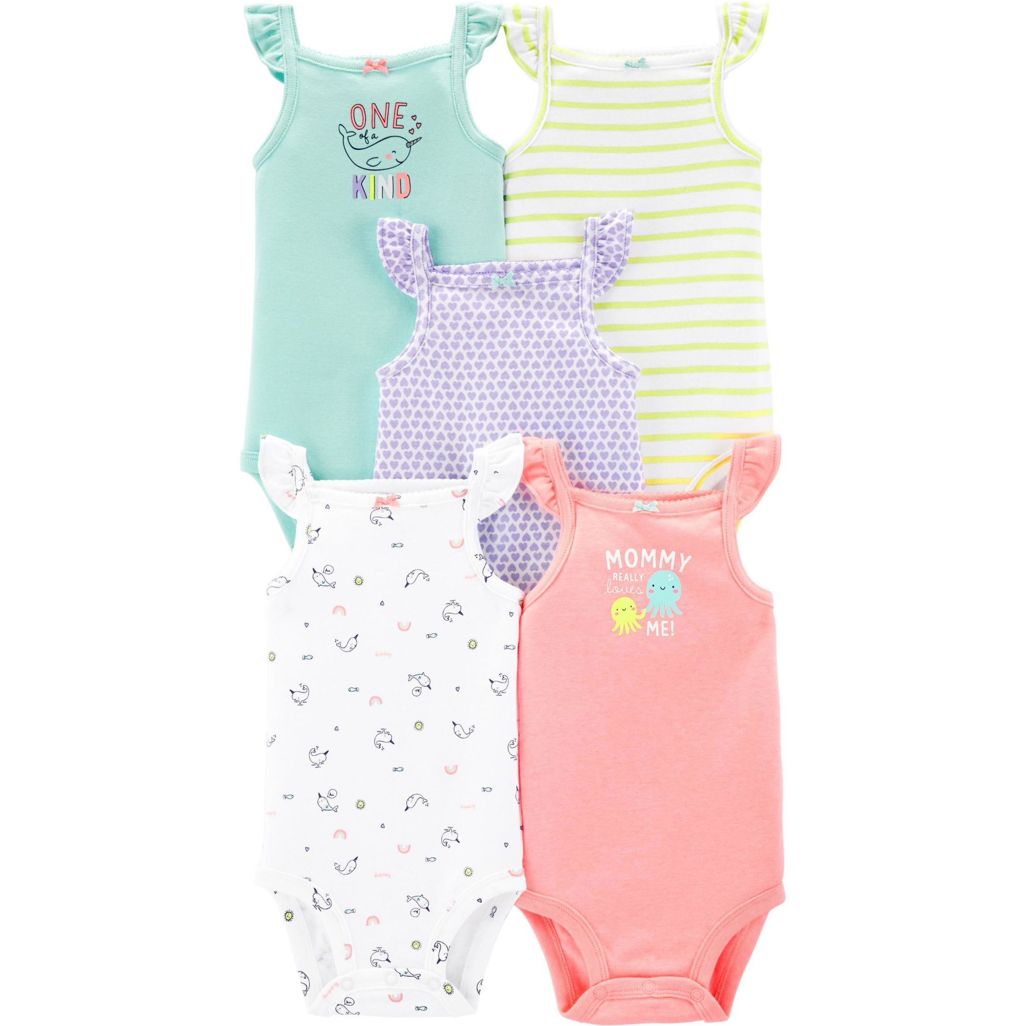 Kit Com 5 Body Manga Regata Colorido - Carter's