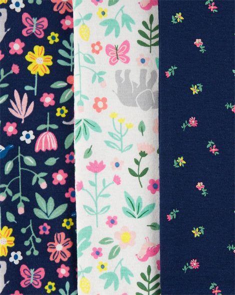 Kit Com 6 Body Manga Longa Floral - Carter's 126h587